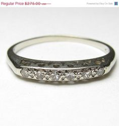 ON SALE Vintage Art Deco 14k White Gold 0.12ctw Diamond Wedding Band Size 6.5/ Antique Estate Anniversary Stacker Ring