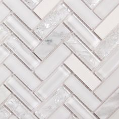 Herringbone Carrara marble with Archery White Oak | Carara white marble with cracked clear and frosted glass | herringbone backsplash tile | cracked glass mosaic tile | white herringbone tile | www.oceanmosaics.com
