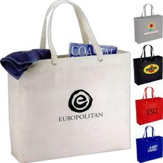 "The Oak shopper tote bag is the perfect item for your shopping needs! This 80-gram non-woven polypropylene tote bag features and open main compartment with double 23"" handles reinforced with metal grommets for extra durability and easy carrying. This is the perfect promotional item for conventions and tradeshows alike. This reusable tote will last for years to come and is a and a great alternative to plastic bags."