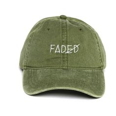 Faded Strapback ($34) ❤ liked on Polyvore featuring accessories, hats, extra, headwear, panel cap, caps hats, visor hats, panel hats and cotton cap