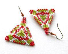 Red Silver Seed Bead Earrings Russian Leaf by AlleywayBeading