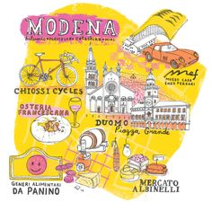 Modena Map for Jamie Magazine - Marcela Restrepo - Illustrations and Drawings