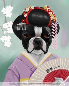 Boston Terrier Geisha  8 x 10 digital illustration _____________________________ For prints and magnets visit: https://www.etsy.com/shop/rubenacker