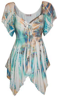 492dbc96295 Funfash Plus Size Womens Slimming White Green Peacock Top Shirt Blouse