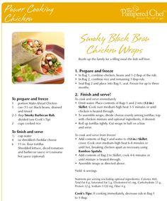 Smoky Black Bean Chicken Wraps Power Cooking Chicken #freezer meals. #oamc