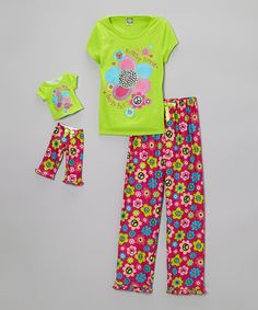 Another great find on #zulily! Green & Pink 'Friends Forever' Pajama Set & Doll Outfit - Girls by Dollie & Me #zulilyfinds