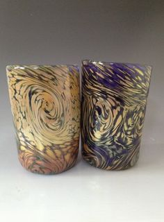 Set of 2 Hand Blown Drinking Glass Tumblers by HorkoverGlass