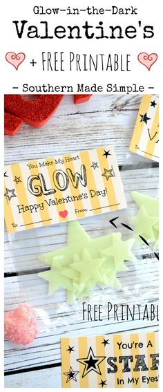DIY Glow in the dark Valentine's Day Cards with FREE Printable! Ditch the candy and grab these fun glow stars to give to your Valentine!