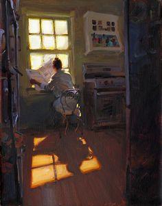 Morning paper, Kim English, Artist, Plein Air Painter, Figurative Paintings, Genre Paintings Original Oil paintings
