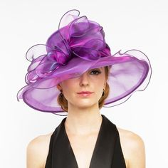 Ruffle brim derby hat for women. Large two tone bow, sits tilted on right side. Satin inner band with drawstring to adjuts fit. One size. 100% polyester.
