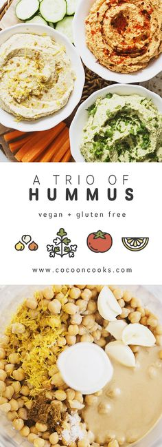 Three healthy, vegan & delicious recipes to please the Hummus-lover in us all!  #vegan #recipe