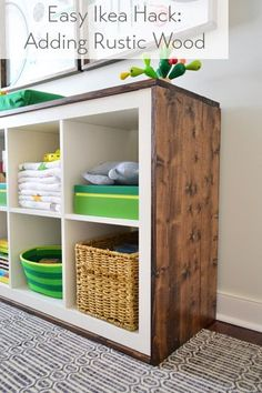Easy ikea hack: turning a bookcase into a wood wrapped changing table