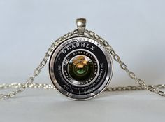 VINTAGE CAMERA PENDANT Antique Camera Lens Pendant Gray Black White Photography Pendant Photographer Gift, 1 inch, Not An Actual Lens