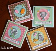 Studio 5380 Card gift set made with cute Lawn Fawn Stamps