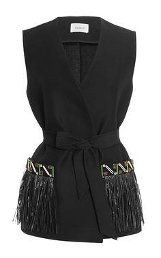 Embellished Black Wrap Gilet with Raffia Trim by Isa Arfen Now Available on Moda Operandi