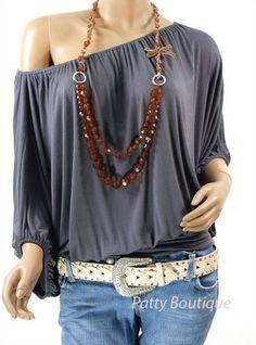 Off-the-shoulder boho blouse - loose and comfy!!