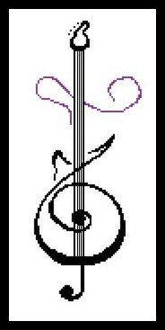 Modern Cross Stitch Pattern PDF Chart Instant Download Guitar in Black and Purple
