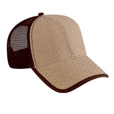 f9510d9b418 Two tone structured Toyo straw pro style mesh back cap. Low fitting. 100%  Paper front