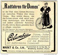 Original-Werbung/ Anzeige 1897 - RADFAHREN FÜR DAMEN / COLUMBIA DAMEN- FAHRRÄDER - ca. 90 x 80 mm