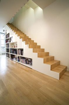 Straight staircase, spiral staircase, with Japanese steps, space saving . Staircase Storage, Loft Stairs, Stair Storage, House Stairs, Under Stairs, Spiral Staircase, Staircase Design, Staircase Ideas, Stairs To Heaven