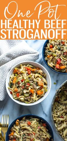 This Healthy One Pot Beef Stroganoff is a delicious 30-minute dinner idea that is also freezer-friendly and sneakily packed with veggies. #onepot #beefstroganoff Good Healthy Recipes, Delicious Recipes, Healthy Foods, Whole Food Recipes, Great Recipes, Yummy Food, Healthy Beef Stroganoff, 30 Minute Meals, Easy Weeknight Dinners