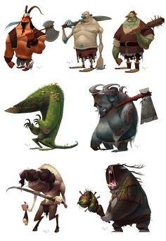 Concept art para un juego de fantasía para iphone/ipad. Diseños de enemigos. En la primera fila hay los enemigos medianos que a...