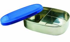 New Wave Enviro Products Tinted Stainless Steel Food Container with Divider (Water, 6.25 x 4.25 x 1.75-Inch) by New Wave Enviro Products. $12.97. Tight fitting tinted lids. Top Rack Dishwasher Safe. Taste the Food not the Container No Toxins No Leaching No Taste. #304 Food Grade Seriously Safe Stainless 100% Stainless Top and Bottom. Dividers allow for a variety of different snacks in your lunch without getting smushed. The Tinted Stainless Safe Stainless Food Con...