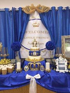Royal prince baby shower dessert table! See more party ideas at CatchMyParty.com!