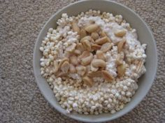 Yogurt bowl- Greek yogurt mixed with vanilla protein powder, cinnamon, puffed millet and salted peanuts. Just for good measure, an extra sprinkling of sea salt. Sweet and salty = life's necessity.