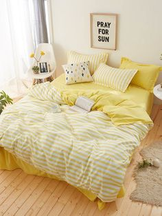 bedroom bed gen z yellow interior, pray for sun, yellow bedroom, sunny spring vibes decor, yellow interior Yellow Room Decor, Cute Room Decor, Bedroom Yellow, Yellow Girls Bedrooms, Yellow Bedroom Accessories, Light Yellow Bedrooms, Room Ideas Bedroom, Bedroom Sets, Bedroom Decor
