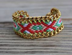 OOAK friendship bracelet in beautiful winter colors framed with gold plated chain