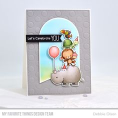 Stamps: BB Birth-Yay Die-namics: BB Birth-Yay, Stitched Rectangle STAX Set Peek-a-Boo Polkda Dots, Tag Builder Blueprints Essential Fishtail Sentiment Strips Debbie Olson Copic Sketch Markers, Mft Stamps, Birthday Design, Animal Cards, Handmade Birthday Cards, Card Maker, Copics, Clear Stamps, Cards