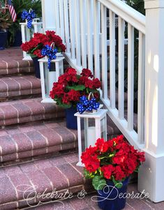 Fourth of July Decorating for the Front Porch – Celebrate & Decorate - Summer Porch Decor & Front Door Decor Fourth Of July Decor, 4th Of July Decorations, 4th Of July Wreath, July 4th, Grave Decorations, Halloween Decorations, Halloween Veranda, Halloween Porch, Porche D'halloween