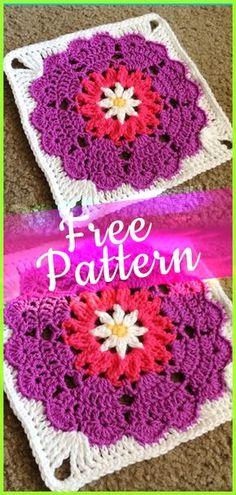 Crochet Pattern Heart Mandala Square #crochetpatterns #crochetmandala #mandala #mandalacrochet #freepatterns