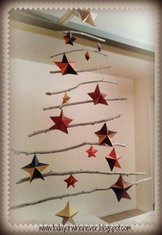 Handmade upcycled Christmas tree: driftwood+origami paper star from www.todayorwhenever.blogspot.com