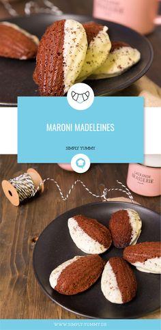Madeleines mit Maroni, Kastanien #herbstlich #herbst #rezepte #madeleines #kleingebäck #backen #rezept #herbstrezepte #maroni #kastanien Simply Yummy, Four, Cake Pops, Veggies, Cookies, Baking, Dinner, Sweet, Desserts