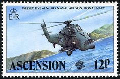 Sello: Wessex Helicopter (Ascensión Isla) (Military Aircraft) Mi:AC 341,Sn:AC 332,Yt:AC 344