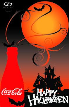 Happy Halloween and Coca Cola. Pepsi Ad, Coca Cola Ad, Always Coca Cola, World Of Coca Cola, Coca Cola Bottles, Retro Halloween, Happy Halloween, Halloween Images, Coca Cola Quotes