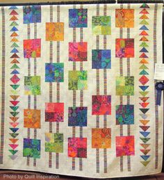 AQG President's Quilt by Kathe Carolin, quilted by Jeannie Rogers. Design by Anita Shackelford ; fabric by Kaffe Fassett.  Photo by Quilt Inspiration.