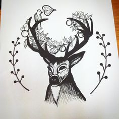 Christmas is coming, no question. #deer #reindeer #christmas #designer #design #bw #handdrawn #art #szarvas #drawing #pillow #christmascards #pillows #christmasdesign #mik #ajandek #sketch #woodland #forestanimals #birdy #animalart