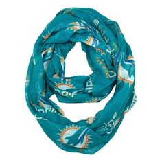 NFL Miami Dolphins Sheer Infinity Scarf One Size Turquoise