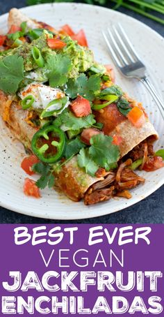 These vegan enchiladas are stuffed with a meaty chipotle seasoned jackfruit and black bean filling, smothered in enchilada sauce, and then loaded with toppings! Vegan Enchiladas, Jackfruit Enchiladas, Vegan Mexican Recipes, Vegan Lunch Recipes, Healthy Recipes, Vegan Potluck, Vegan Foods, Free Recipes, Whole Food Recipes