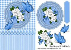 Blue gingham with lace doilie and white roses with bow on Craftsuprint - Add To…