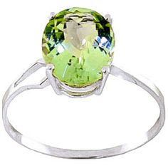 6d0907bf18d Green Amethyst Claw Set Ring 2.2ct in 9ct White Gold Blue Topaz Ring