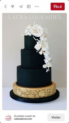 This is the one if you really have to have a black cake. Black & Gold Wedding Cake - Cake by Laura Loukaides Black And White Wedding Cake, Black Wedding Cakes, Beautiful Wedding Cakes, Gorgeous Cakes, Pretty Cakes, Amazing Cakes, Cake Wedding, Wedding Desserts, Wedding Cupcakes