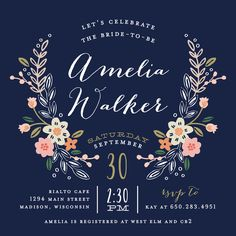 """""""Wildflower Crest"""" - Floral & Botanical Bridal Shower Invitations in Navy by…"""