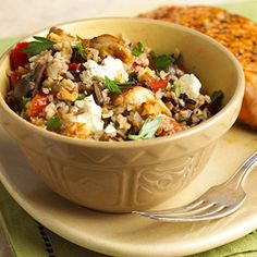 Bulgur-Mushroom Stovetop Pilaf Bulgur, mushrooms, and sweet peppers are added to wild rice to make this hearty main-dish recipe.