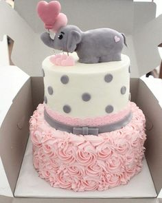 Pink and Grey Elephant Birthday Cakes for Girls