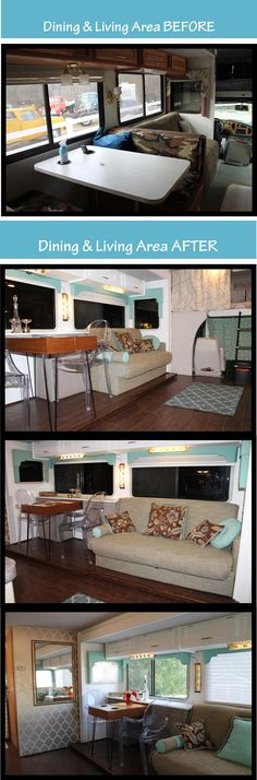 Before & After photos of the dining area and living area of our RV