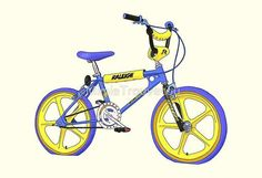 Vintage blue and yellow Raleigh bmx bike Bmx Street, Bmx Gt, Mountain Biking, Bmx Cake, Bmx Ramps, Raleigh Bicycle, Bmx Bicycle, Bicycle Basket, Bicycle Parts